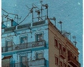 Print from original drawing, blue sky over blue house, 5.5x11.5