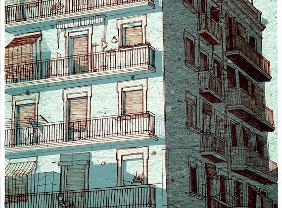 Wall Art, Print, city skyline, light blue house, 5.5x11.5
