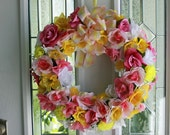 Spring Wreath Pink White and Yellow Flowers