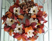 Wreath Fall warm earth tone colors copper and tan leaves, cream and copper flowers