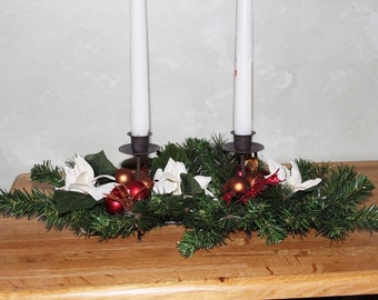 25% OFF SALE Christmas white poinsettia candle centerpiece, red and copper glitter leaves, red and copper balls.