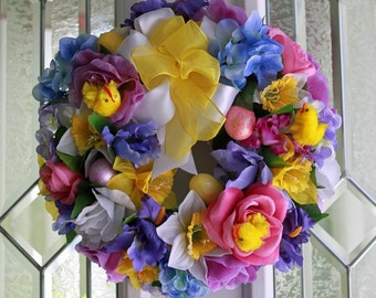 SALE Easter Wreath with assorted spring flowers, Easter Eggs, and little chicks