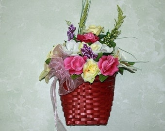 SALE Spring/Summer wall/ door basket filled with flowers, berries, bow and butterfly