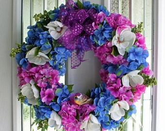 SALE Spring Wreath Blue and Purple Hydrangeas, white flowers green berries, purple bow and cute little matching bird