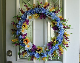 SALE Lg. wreath Sunflowers, bell flowers, hydrangeas, perfect for spring summer and fall