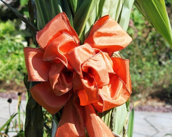 Fall Burnt Orange Bows  with orange glitter edging, wedding pew bows