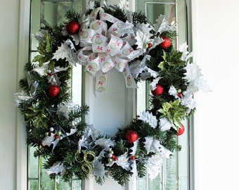 25% OFF SALE Christmas/winter Evergreen wreath with silver holly leaves red and Lime green berries .