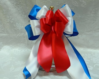 Red White and Blue Layered Patriotic  Satin bow