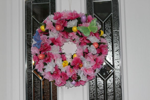 Easter friends wreath shades of pink