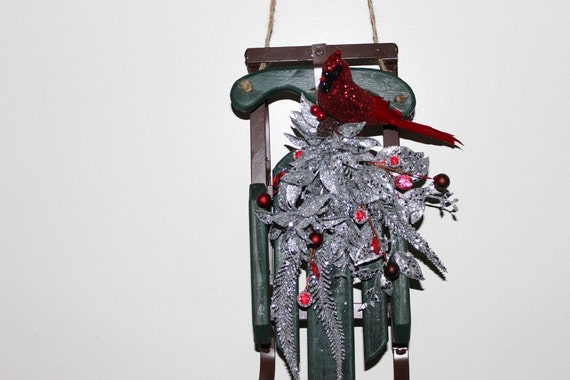 CLEARANCE SPECIAL 25% off Sale Green Sled with Silver Trimming, Red Glitter Cardinal and Red Berries