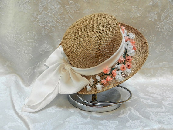 Straw Hat Easter Bonnet  is white scarf and peach and white flowers size S/M