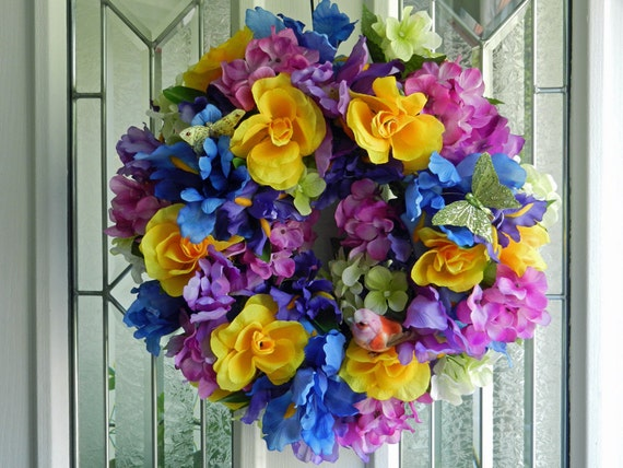 Bright Spring/Summer Flowers Iris' roses, hydrangeas, a little bird and butterflies too