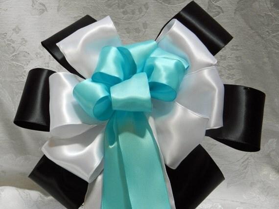 Black White and Robbins Eggs Blue Satin Wedding/ Pew Bows set of 12