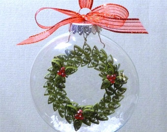 Tutorial -- Quilled Wreath Inside Glass Ornament Pattern