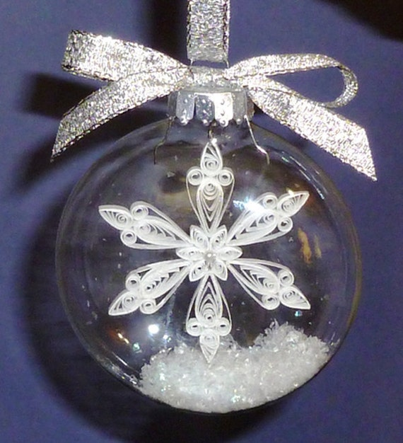 Tutorial Quilled Snowflake Inside Glass Ornament