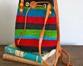 vintage bucket bag - MULTI COLOR sisal woven bag