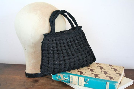 vintage 40s bag - black LICORICE crochet hand bag