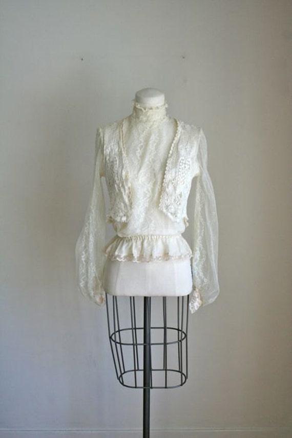 vintage ivory lace blouse - ROMANCE edwardian style blouse / S