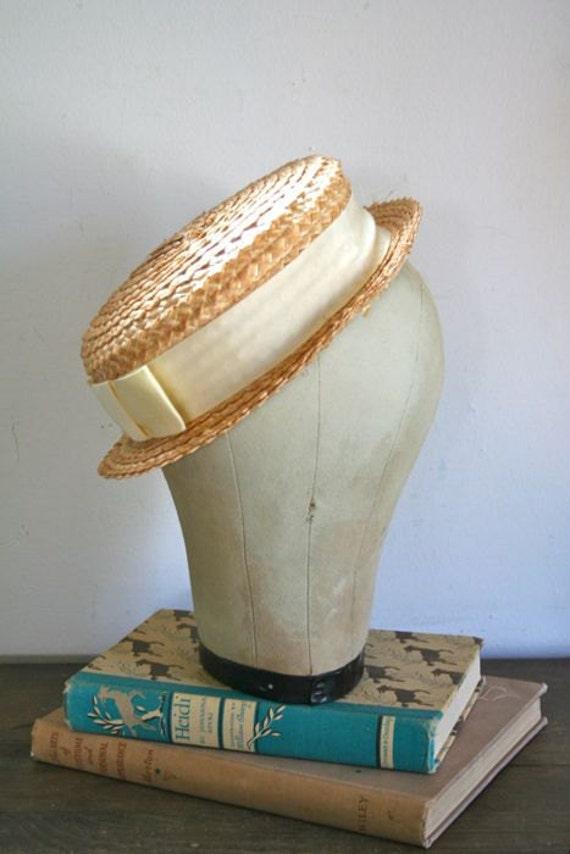 RESERVED for Julie //  vintage straw hat - OPEN FIELD natural straw fedora hat