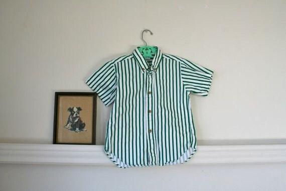 vintage boys striped shirt - POOL SIDE button down top / 5T