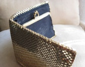 SALE  Whiting and Davis gold chain mail wallet