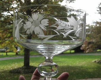 Reduced....Hand Etched Crystal Compote