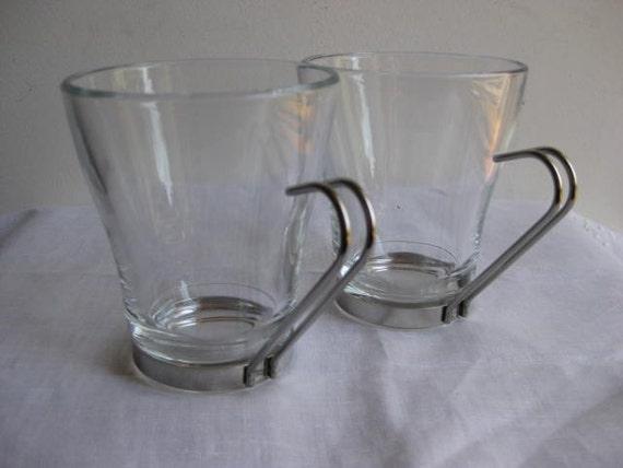 Vitrosax glass tea/coffee mugs / Mid Century