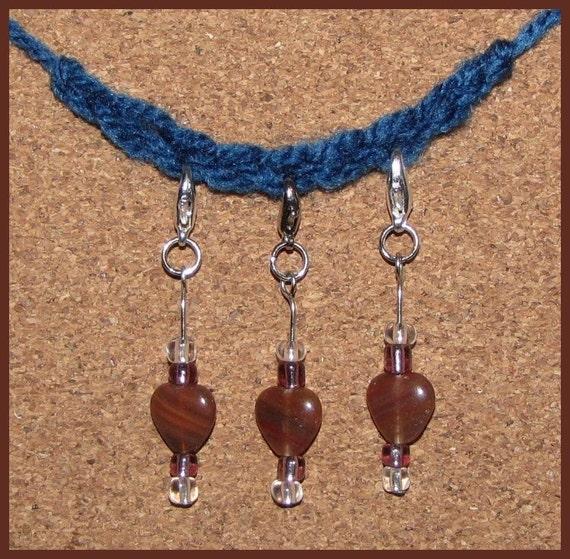 Crochet Stitch Marker - Valentines Brownish Pink Hearts