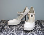 MARY JANE WHITE Heels Pumps Shoes size 8m