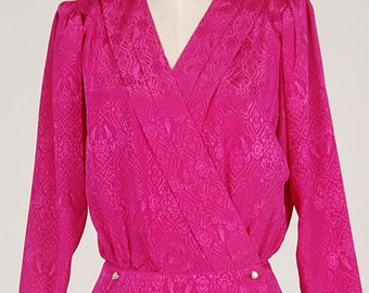 Vintage Neon Pink TOP BLOUSE with Rhinestones buttoms