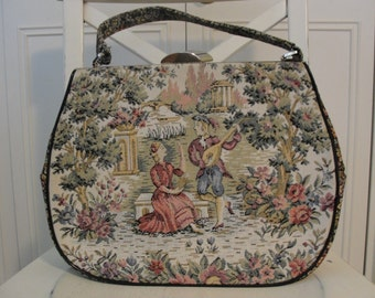 Vintage Art Deco La Marquise Tapestry Figure Romantic Italian Handbag Bag Purse