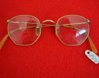 Vtg 30s Small B&L Octagon Gold Filigree Eyeglass Frame
