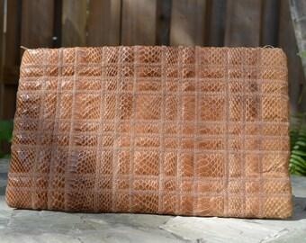 Vintage 80s Snakeskin Leather Handbag Clutch