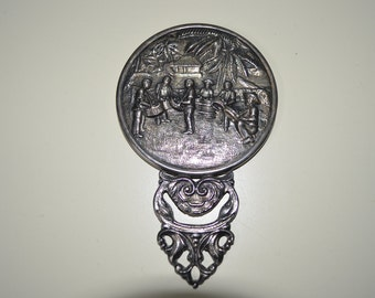 Antique Silver Plated Embossed Hand Mirror