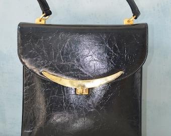 Vtg MARKS & SPENCER Jet Black Distressed Leather Satchel Bag Purse