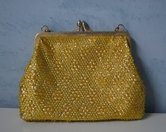 Vintage 60s Gold Metallic Pearlized SEQUIN Purse Bag Clutch Stunning