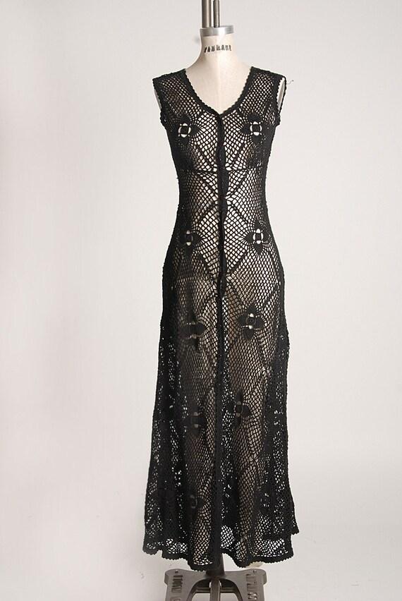 Vintage 70s CROCHET MAXI DRESS Black  Long