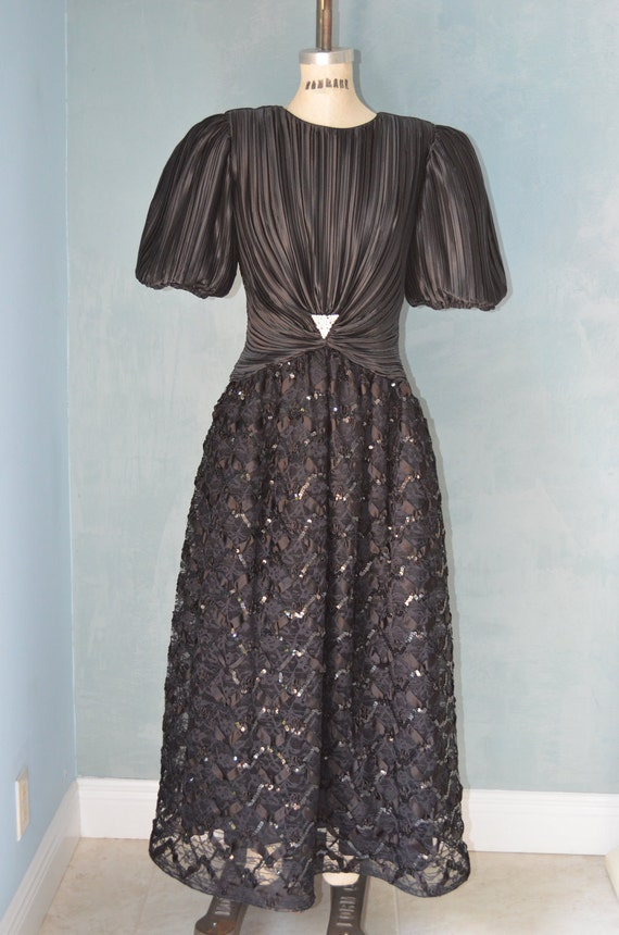 80's NUIT Black Lace Tulle and Satin Puffy Sleeves Prom Evening Dress Cocktail Party