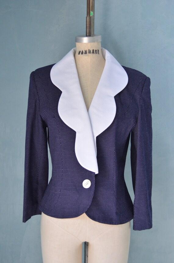 Vintage 60s White and Navy Blue Polka Dots Jacket Blazer