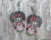 Frida earrings Kahlo sugar skull day of dead Rockabilly
