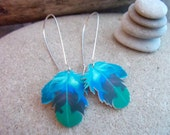 feather earrings boho black blue teal turquoise silver plated kidney wire