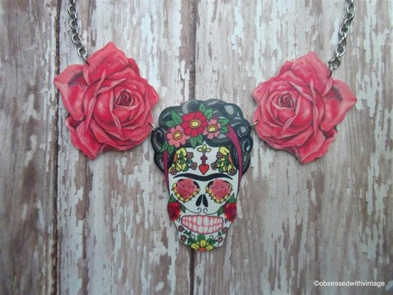 Frida Kahlo necklace day of dead skull sugar skull and rose charms
