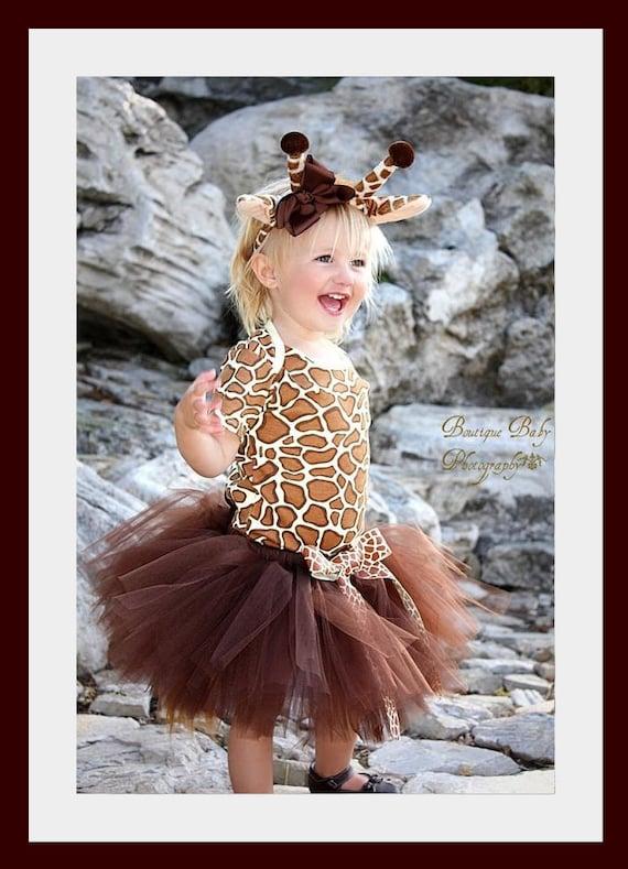 Custom Boutique Giraffe tutu set...Birthday parties...dress up...Halloween costume..Photo shoot...size  12- 18 months