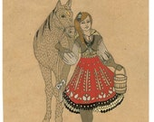SALE!! 50% OFF !!  Off To The Sugarbush, Print of original illustration/ drawing. Girl with a horse and braids