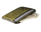 RETROMODERN aged leather Credit Card wallet - - SPRING GREEN