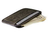 RETROMODERN aged leather Credit Card wallet - - MILITARY GREEN