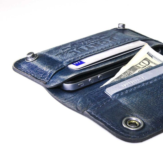 iPhone / iPod Touch - - RETROMODERN aged leather wallet - - BLUE JEANS