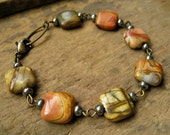 Picasso Jasper Bracelet, jasper and  pyrite beads on antiqued brass wire, rustic