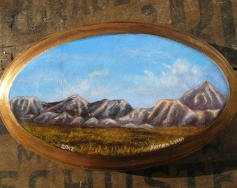 Desert Mountains Landscape Painting, ORIGINAL small acrylic painting of Chihuahuan Desert mountains in New Mexico on wood