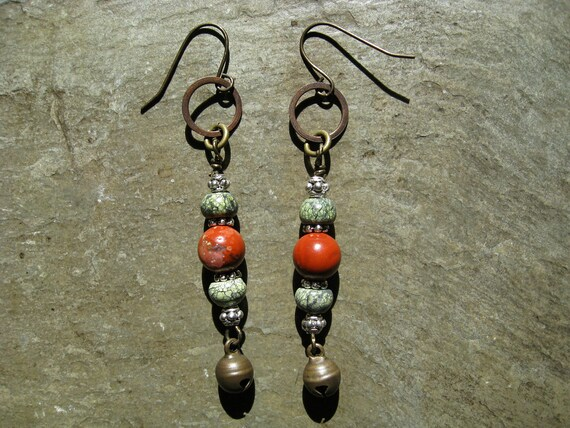 Tribal Earrings, Bell Earrings with pine green Russian Serpentine, and red Jasper (great for tribal belly dance, necklace available)